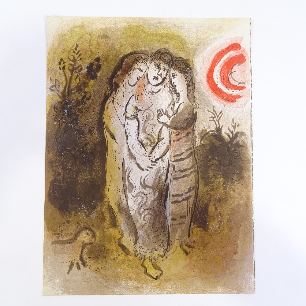 MARC CHAGALL - original colour lithograph, Naomi and her Daughters-in-Law, published by Verve - Image 2 of 5