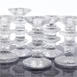 TIMO SARPANEVA FOR IITTALA - a group of 5 Mid-Century Finnish glass Festivo candleholders, clear