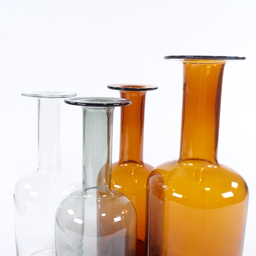 OTTO BRAUER FOR HOLMEGAARD - a set of 4 Vintage vari-colour glass Gulvvases (Gul Vase), in amber, - Image 5 of 5