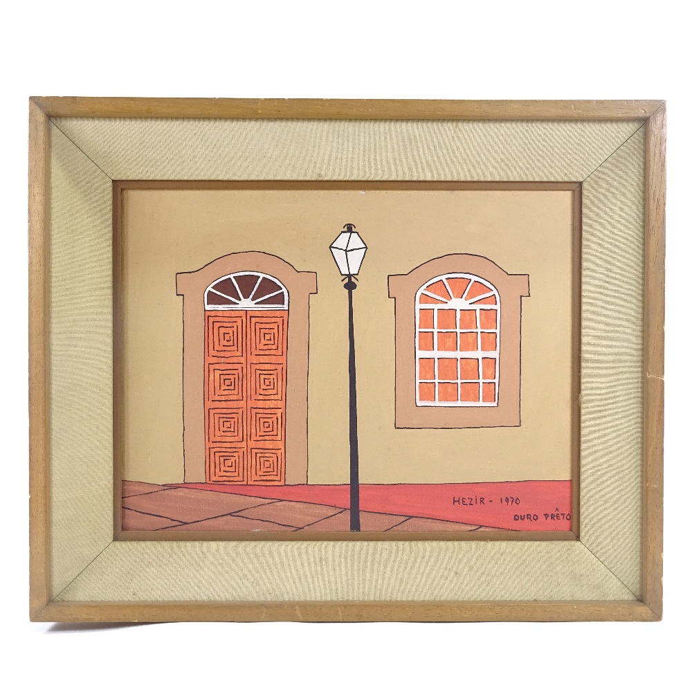 HEZIR GOMES (Brazilian, 1916-1993) - 2 oils on canvas, street facades in Brazil (Ouro Preto), signed - Image 2 of 5