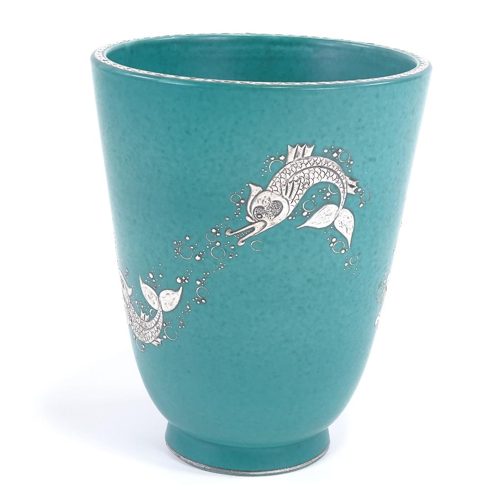 WILHELM KAGE FOR GUSTAVSBERG - a Mid-Century Swedish green glaze ceramic Argenta vase, circa 1946, - Image 2 of 5