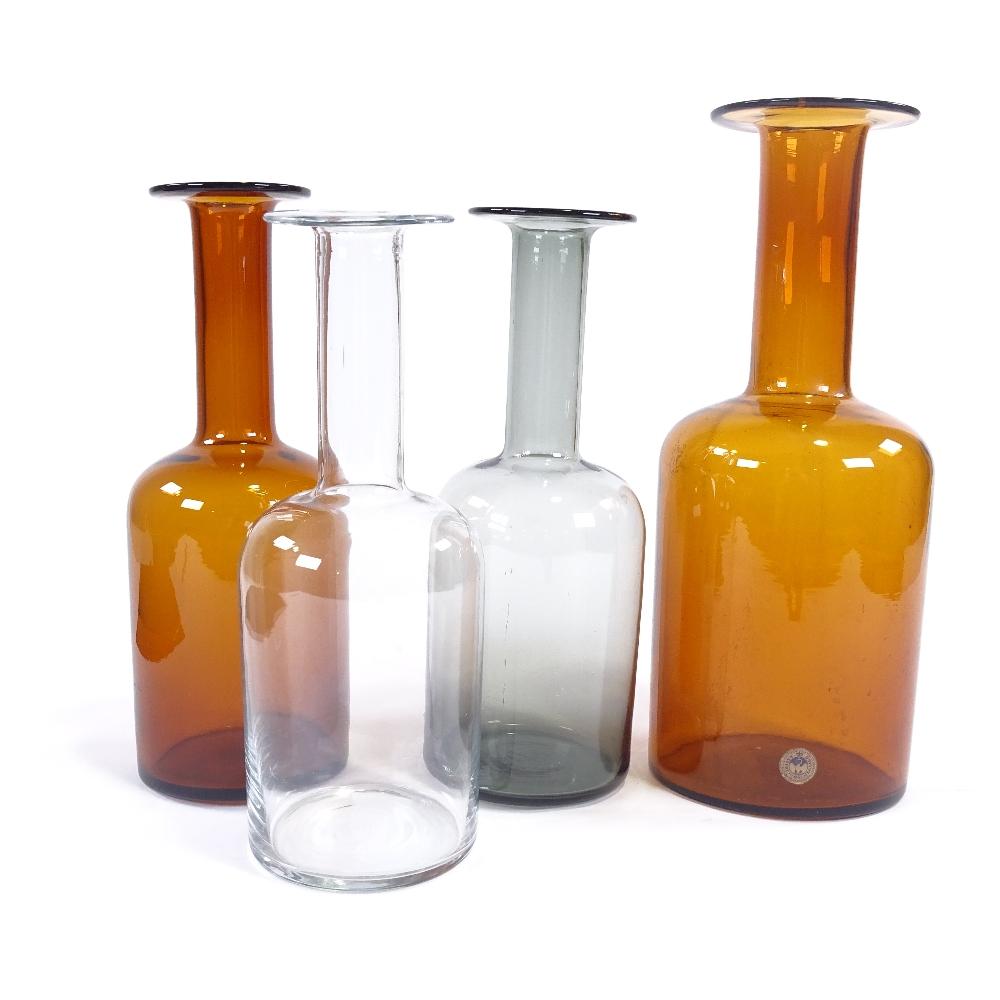OTTO BRAUER FOR HOLMEGAARD - a set of 4 Vintage vari-colour glass Gulvvases (Gul Vase), in amber,