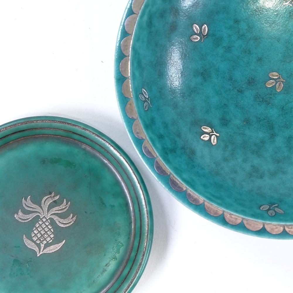 WILHELM KAGE FOR GUSTAVSBERG - a Mid-Century Swedish green glaze ceramic Argenta bowl...