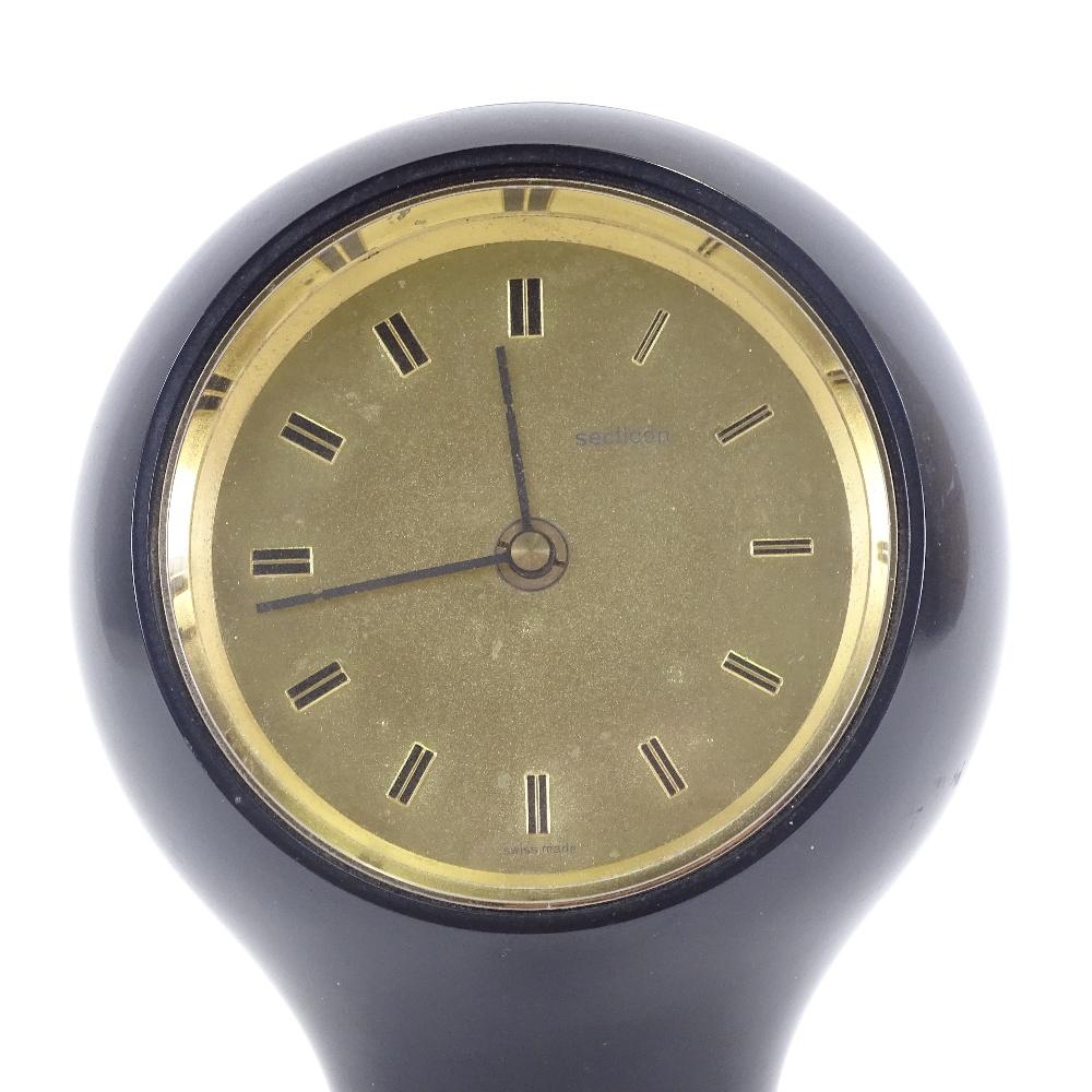 ANGELO MANGIAROTTI FOR SECTICON - a Mid-Century T1 desk clock, modern quartz movement, black plastic