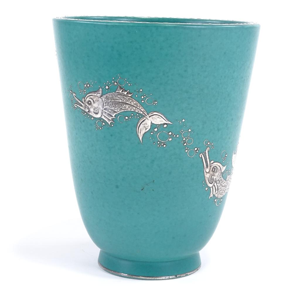 WILHELM KAGE FOR GUSTAVSBERG - a Mid-Century Swedish green glaze ceramic Argenta vase, circa 1946, - Image 3 of 5