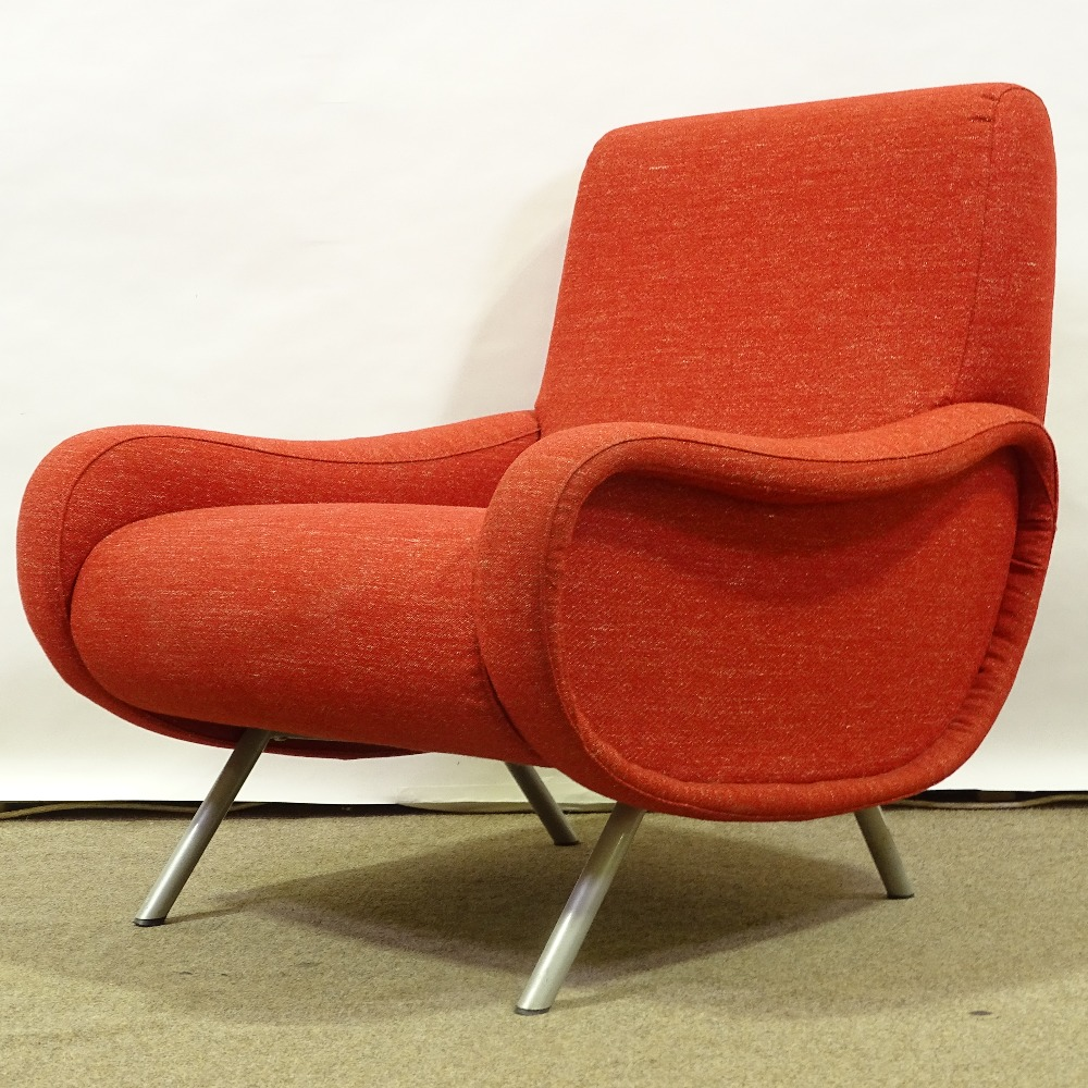 MARCO ZANUSO FOR ARFLEX - a late 20th Century Italian Lady lounge chair, red upholstery with steel