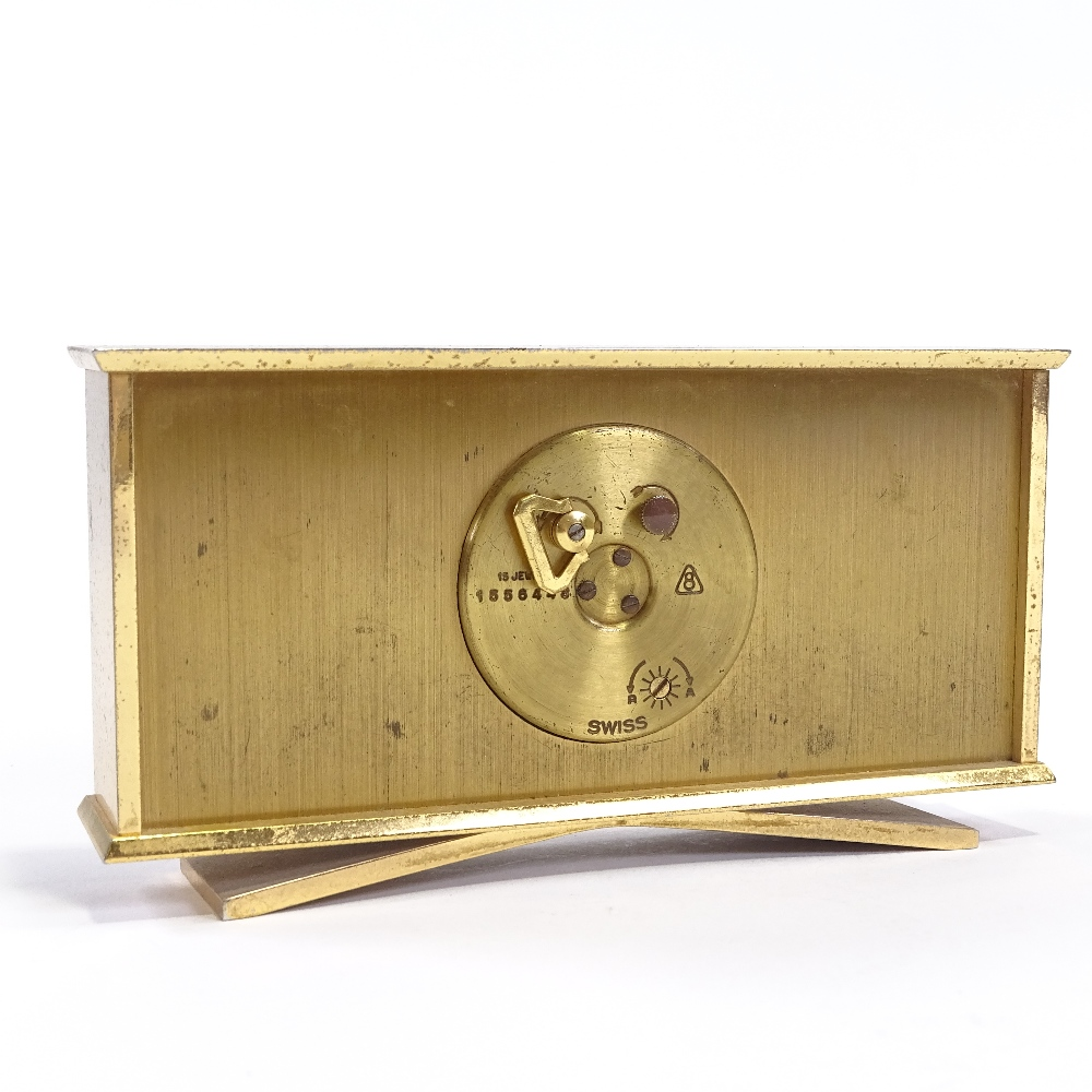 IMHOF - an Art Deco style Swiss brass-cased 8 day mantel clock, brushed dial with baton hour markers - Image 4 of 5