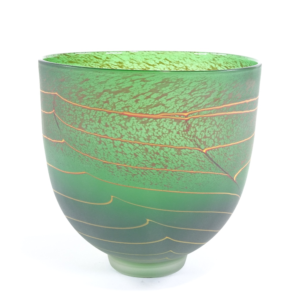 WILL SHAKSPEARE - a small Studio glass open lime Trail bowl, sandblasted finish, etched signature on - Image 3 of 5