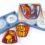 POOLE POTTERY - a set of Vintage Delphis ceramic dishes, comprising 2 small and 1 large, model no.
