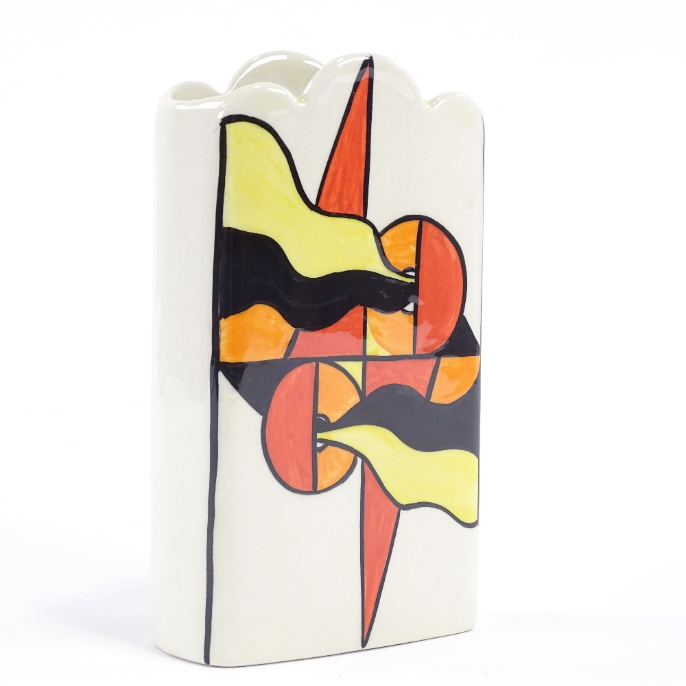LORNA BAILEY - a late 20th Century Mirage ceramic vase, Deco style flag decoration with wave rim, - Image 3 of 5