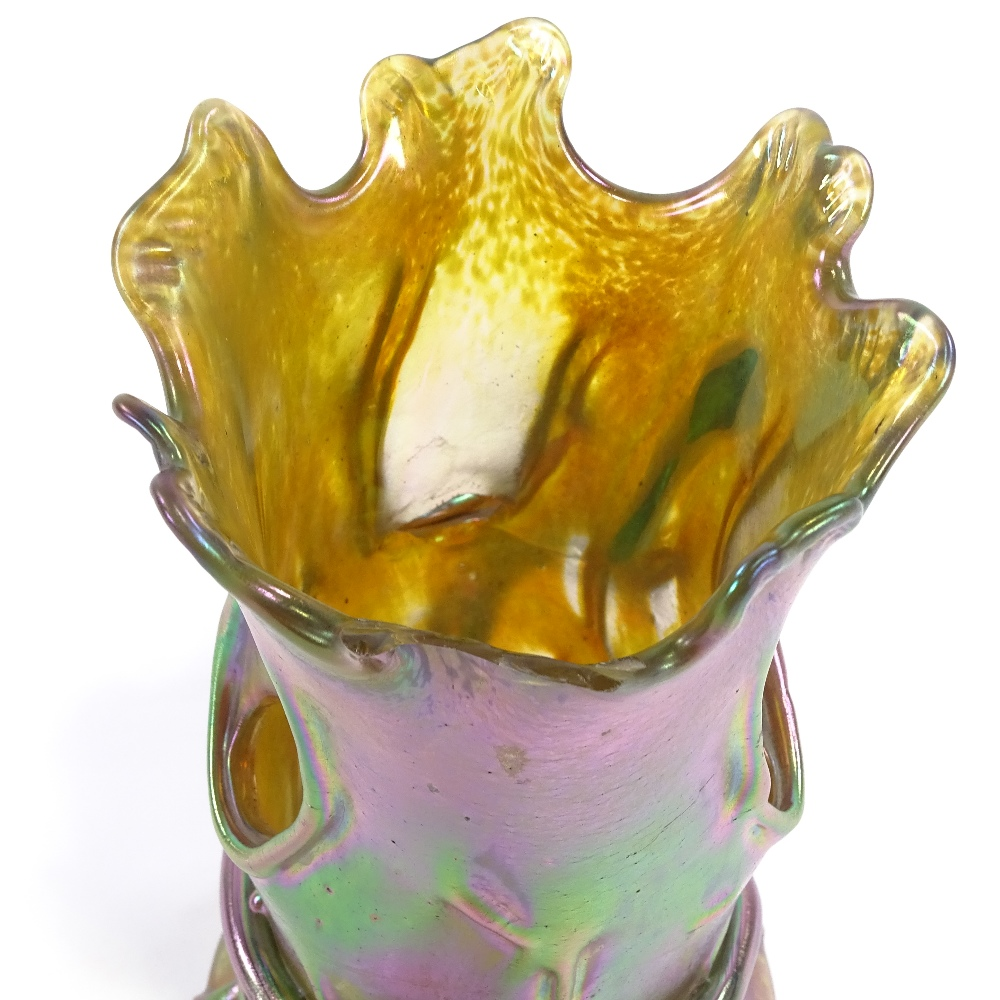 LOETZ - an early 20th Century iridescent glass Tree Trunk and Snake vase, realistically formed - Image 4 of 5