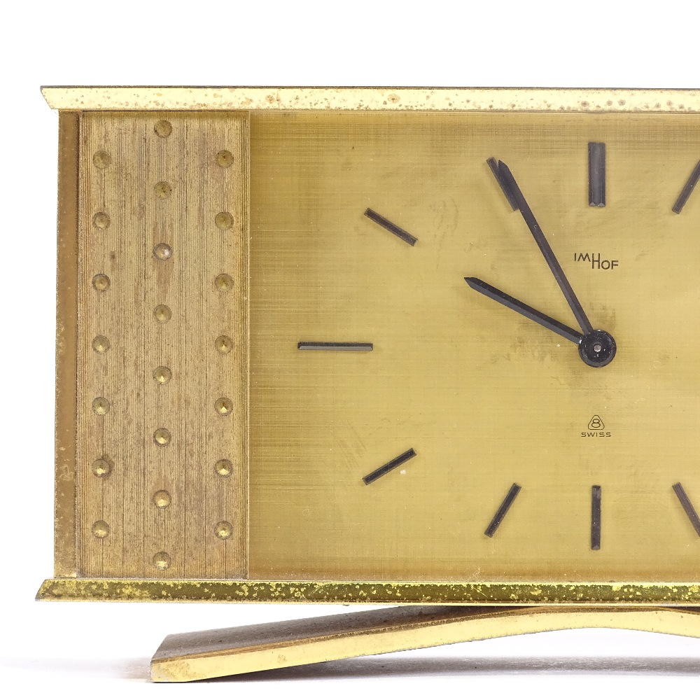 IMHOF - an Art Deco style Swiss brass-cased 8 day mantel clock, brushed dial with baton hour markers