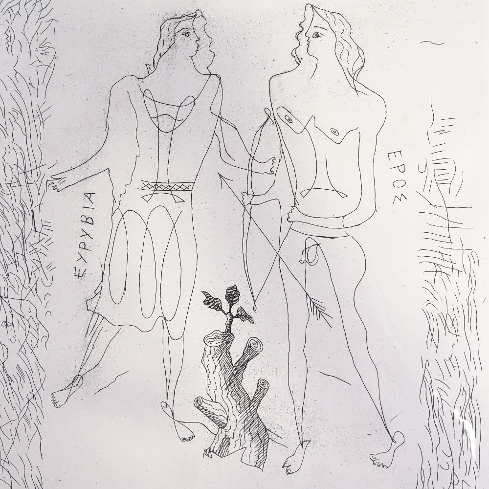 GEORGES BRAQUE (French, 1882-1963) - original etching, Eros and Eurybia, from La Theogonie d'Hesiode - Image 3 of 5