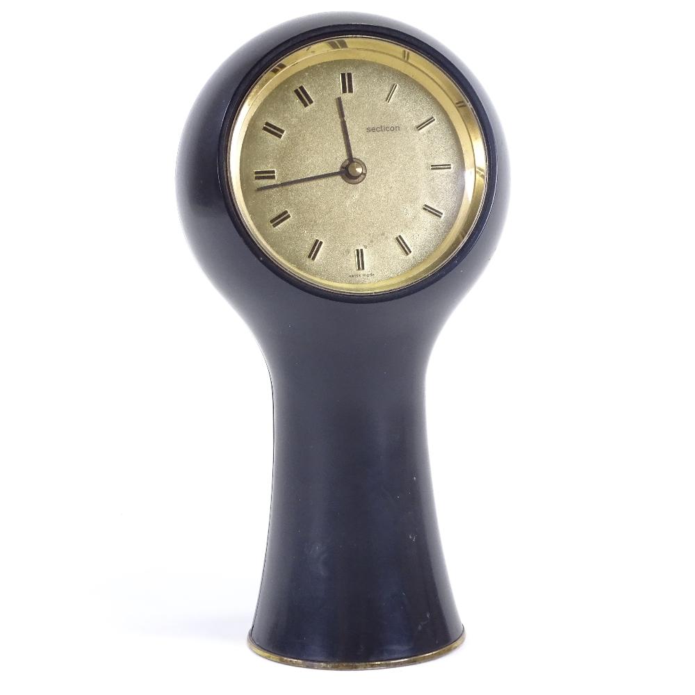 ANGELO MANGIAROTTI FOR SECTICON - a Mid-Century T1 desk clock, modern quartz movement, black plastic - Image 2 of 5