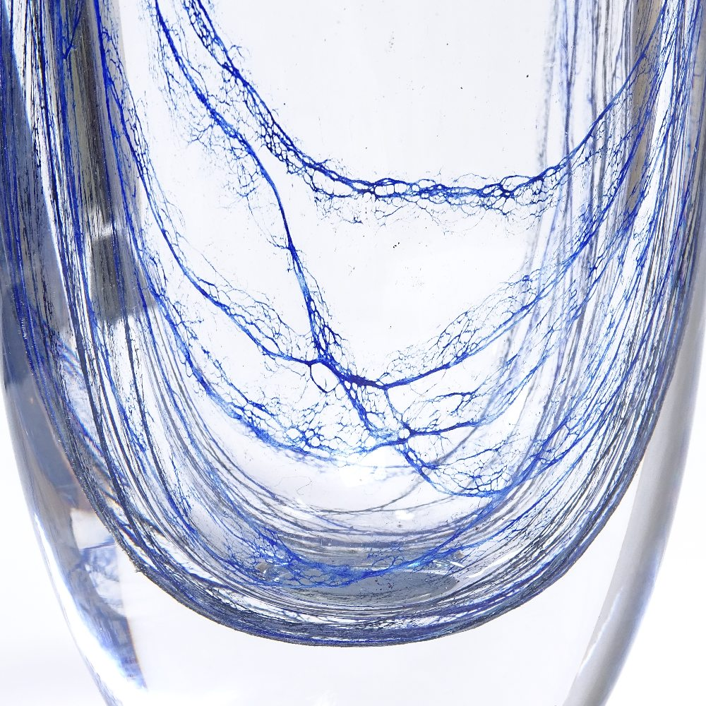 WITHDRAWN VICKE LINDSTRAND FOR KOSTA - a Mid-Century Swedish glass Blue Thread vase, circa 1955, - Image 3 of 5