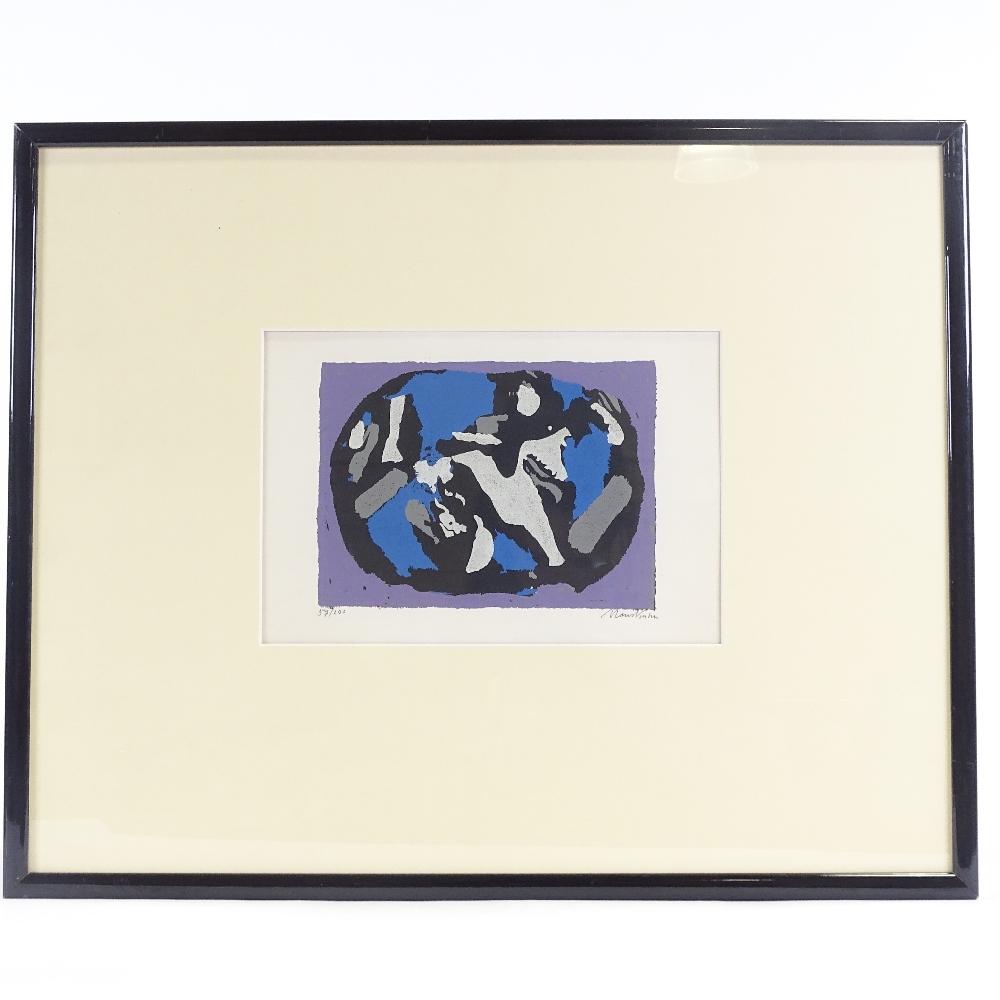 HANS KUHN - a limited edition original silkscreen print, abstract study, circa 1955, no. 57/200, - Image 3 of 5