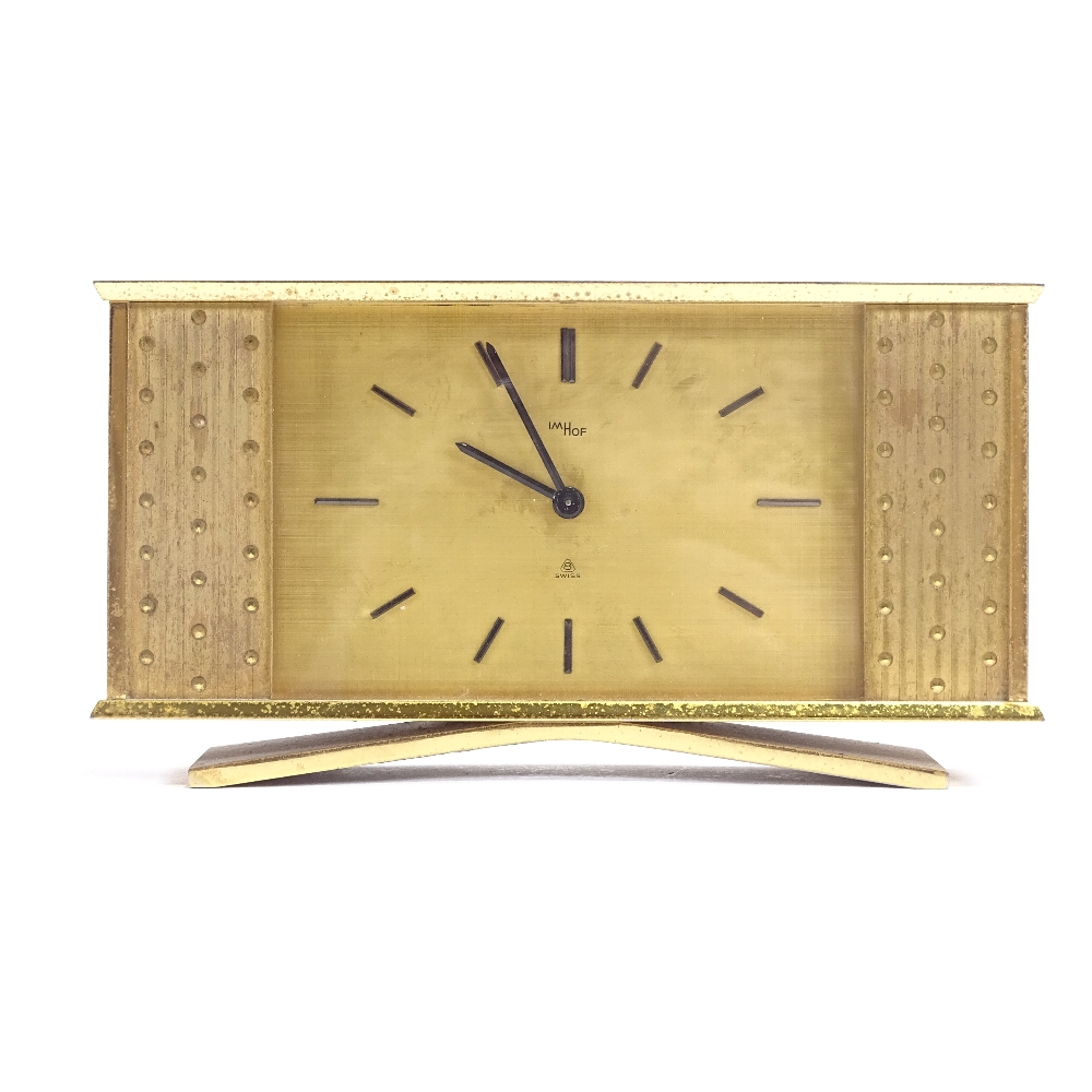 IMHOF - an Art Deco style Swiss brass-cased 8 day mantel clock, brushed dial with baton hour markers - Image 2 of 5