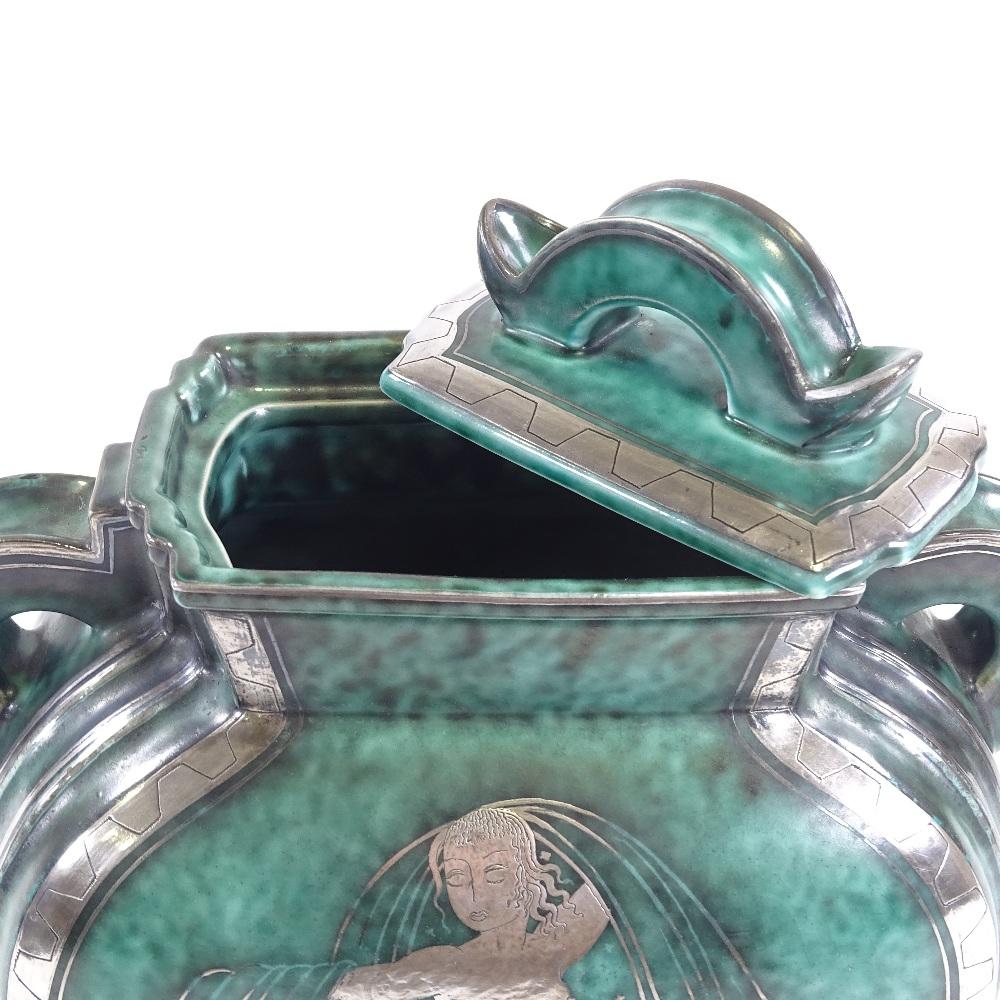 WILHELM KAGE FOR GUSTAVSBERG - an Art Deco Swedish green glaze ceramic Argenta urn and cover, - Image 5 of 5
