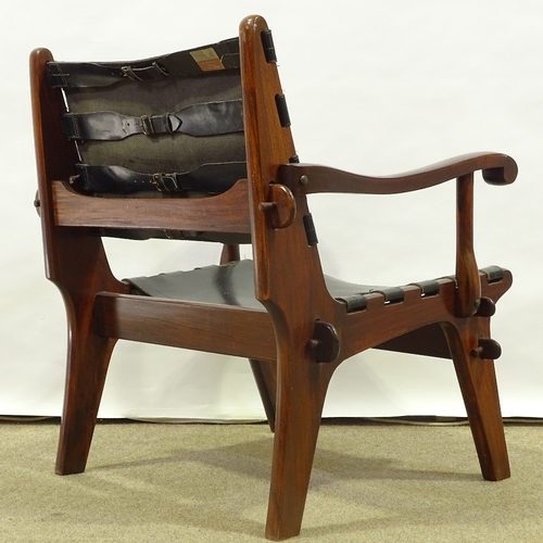 ANGEL PAZMINO - a Mid-Century Ecuadorian rosewood stained teak lounge chair, leather sling seat - Image 3 of 5