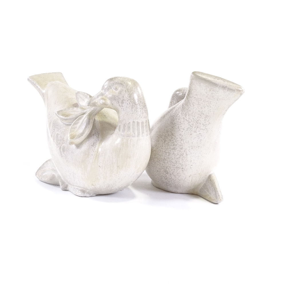 GUNNAR NYLUND FOR RORSTRAND - a pair of Swedish stoneware pottery doves of peace, circa 1930s, - Image 5 of 5