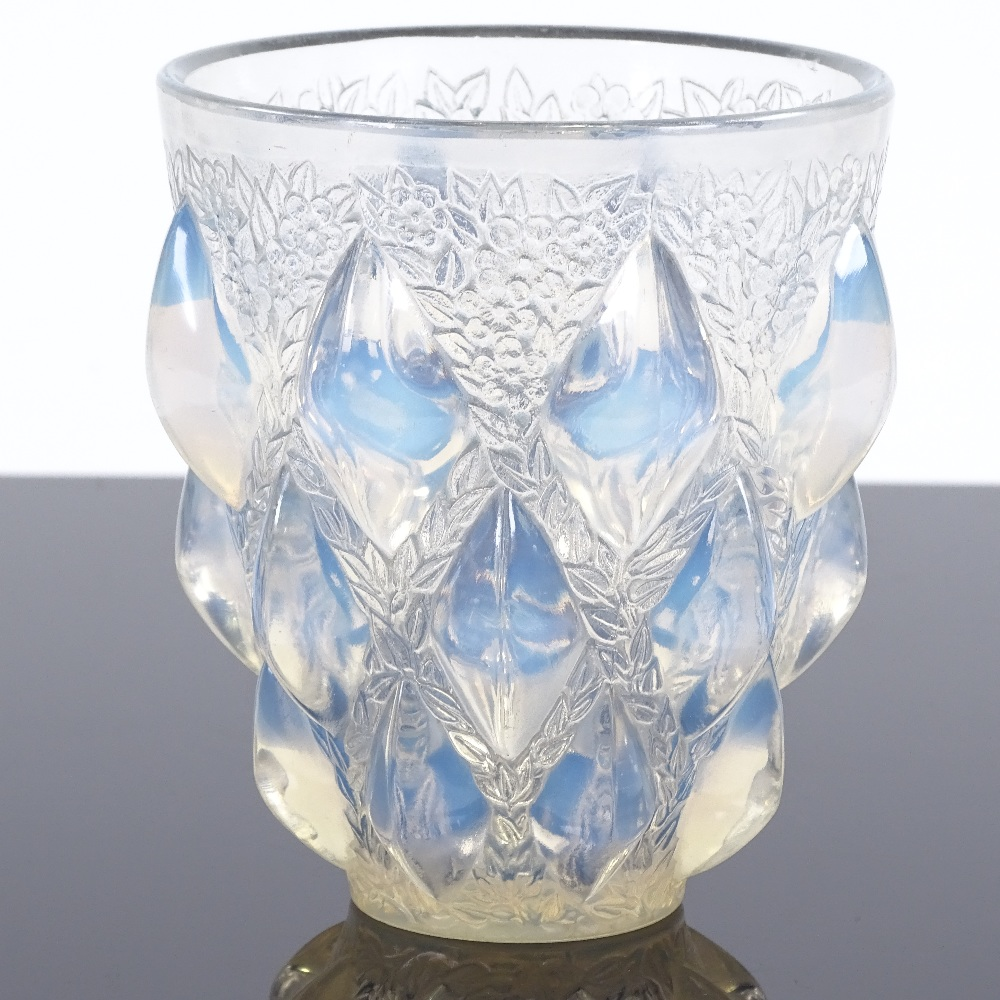 R LALIQUE - a Mid-Century French opalescent glass Rampillon vase, tapered cylindrical form... - Image 2 of 5