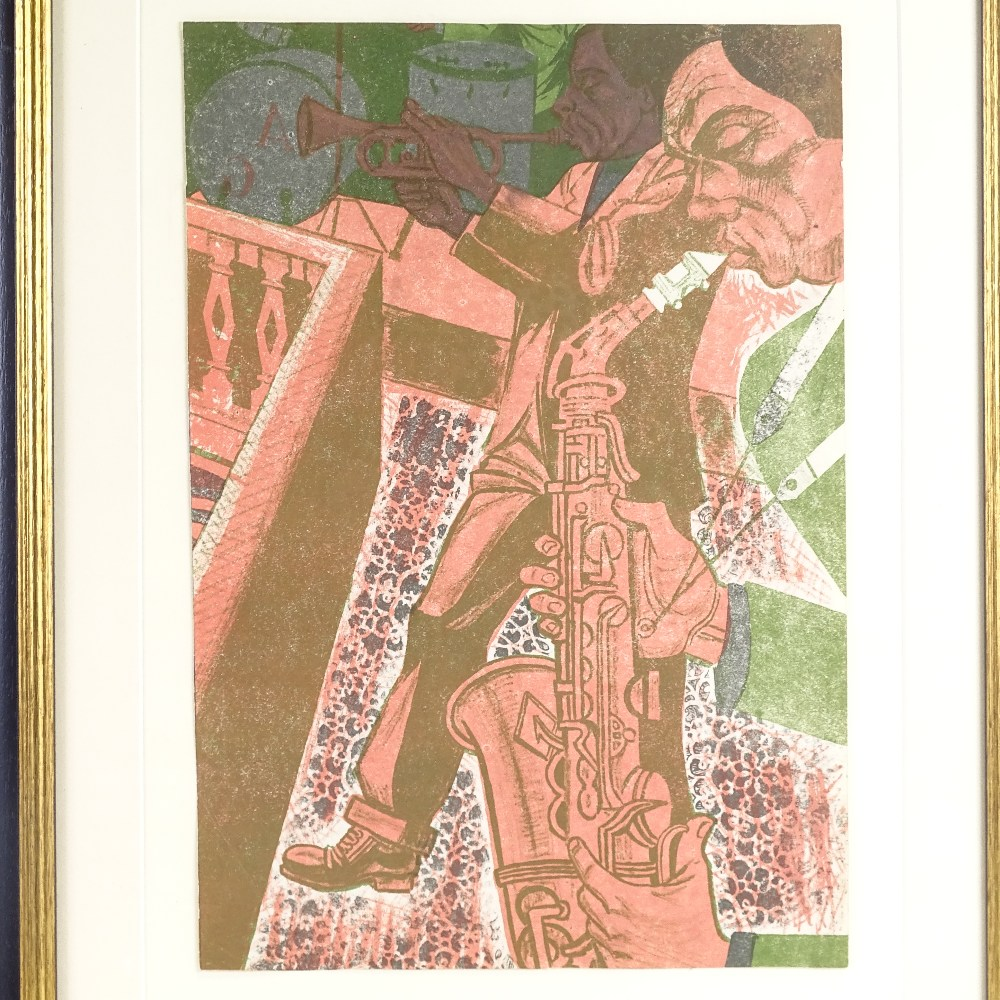 BRIAN HARLAND REES (Born 1930), Mid-Century original colour lithograph, Jazz Band, circa 1960s,