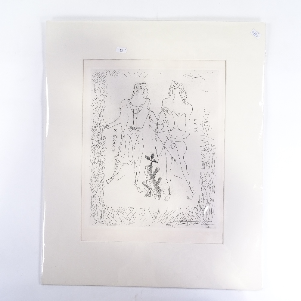 GEORGES BRAQUE (French, 1882-1963) - original etching, Eros and Eurybia, from La Theogonie d'Hesiode - Image 2 of 5