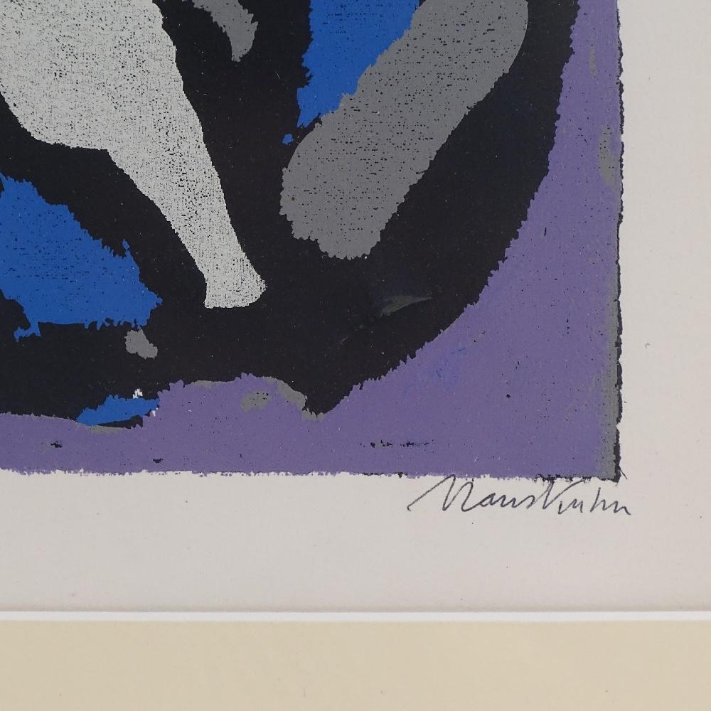 HANS KUHN - a limited edition original silkscreen print, abstract study, circa 1955, no. 57/200, - Image 2 of 5