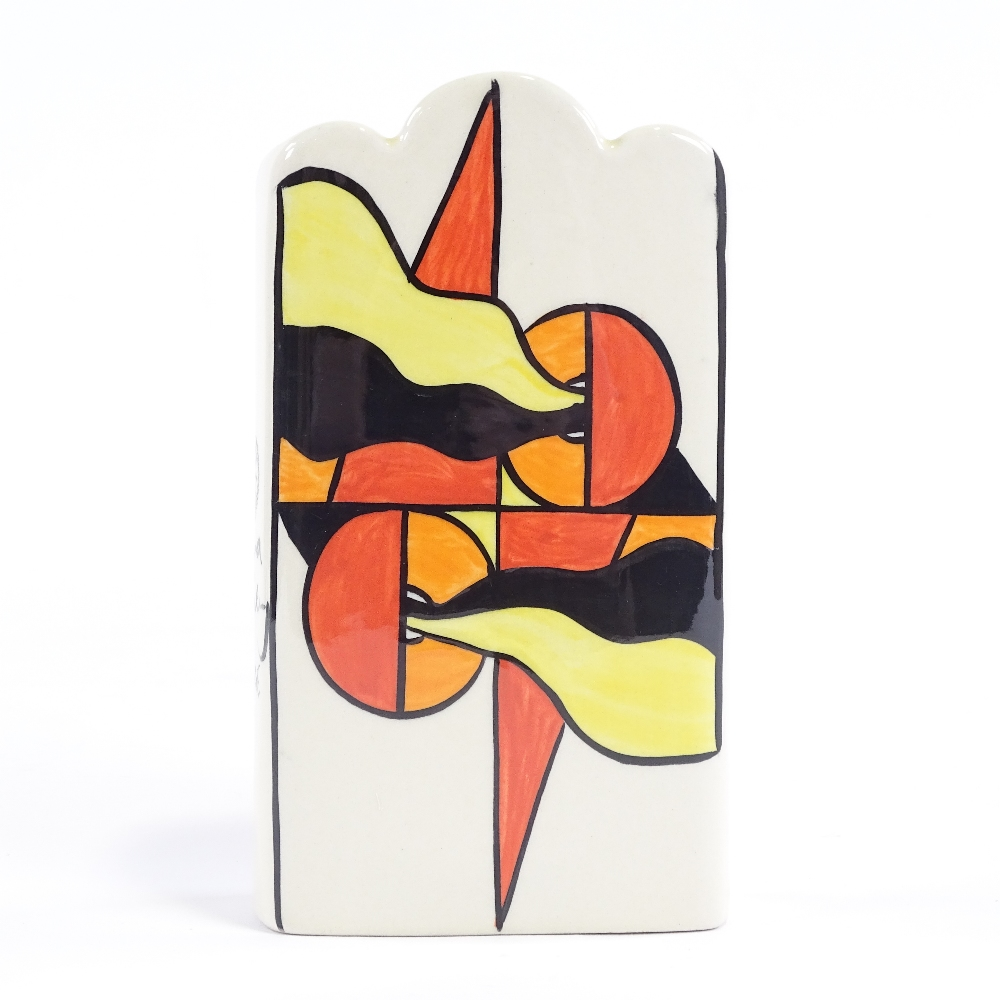LORNA BAILEY - a late 20th Century Mirage ceramic vase, Deco style flag decoration with wave rim,