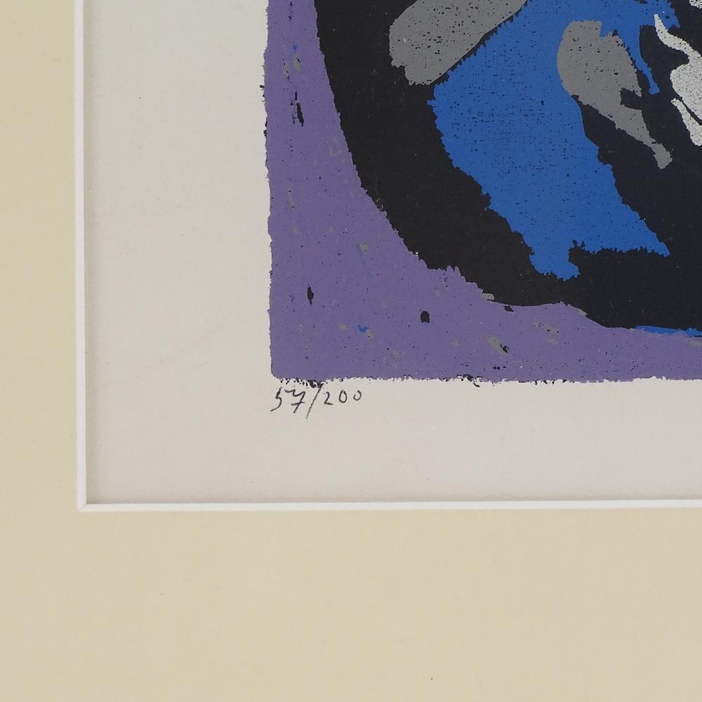 HANS KUHN - a limited edition original silkscreen print, abstract study, circa 1955, no. 57/200, - Image 5 of 5