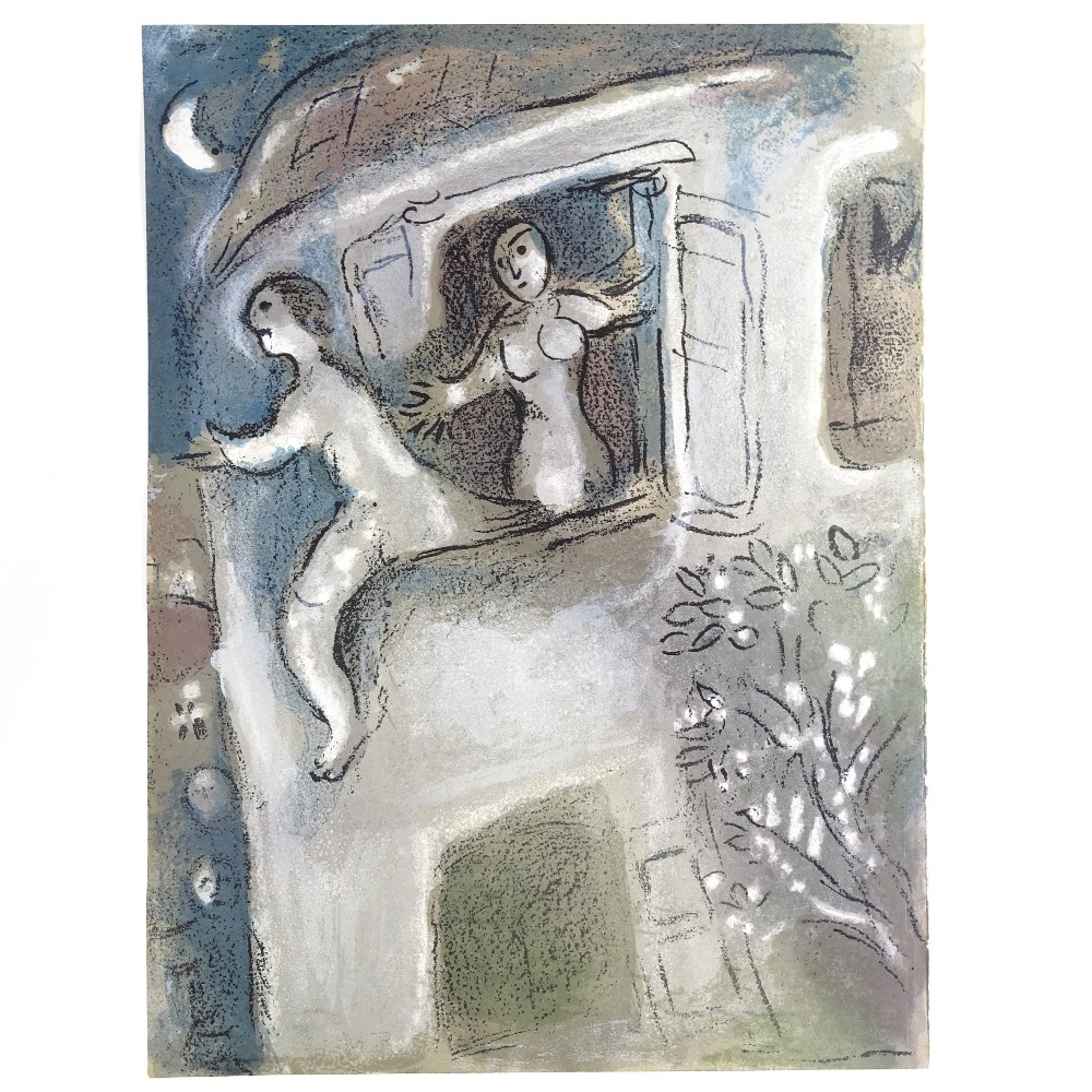 MARC CHAGALL - original colour lithograph, David Saved by Michal from The Bible, published by - Image 2 of 5