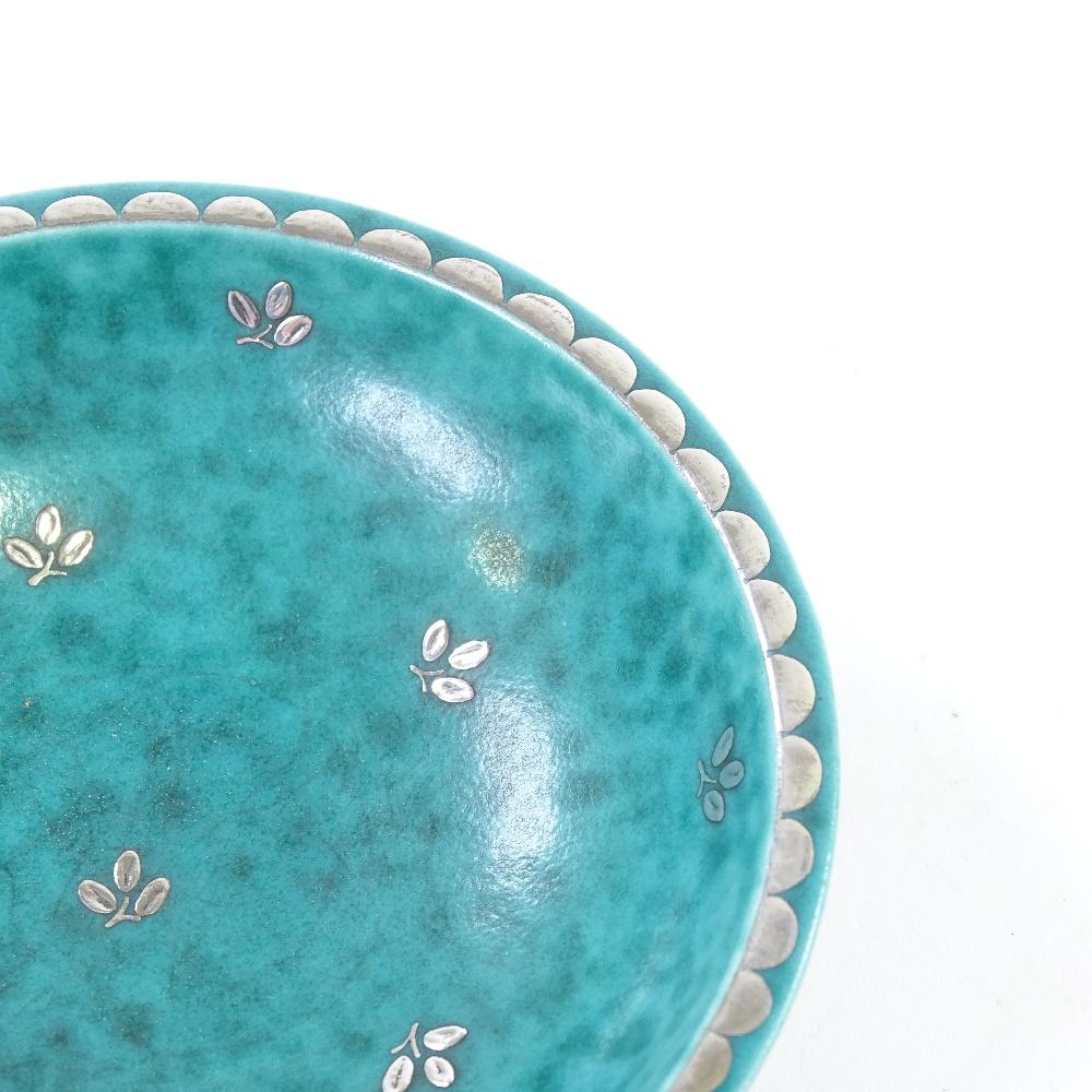 WILHELM KAGE FOR GUSTAVSBERG - a Mid-Century Swedish green glaze ceramic Argenta bowl... - Image 5 of 5