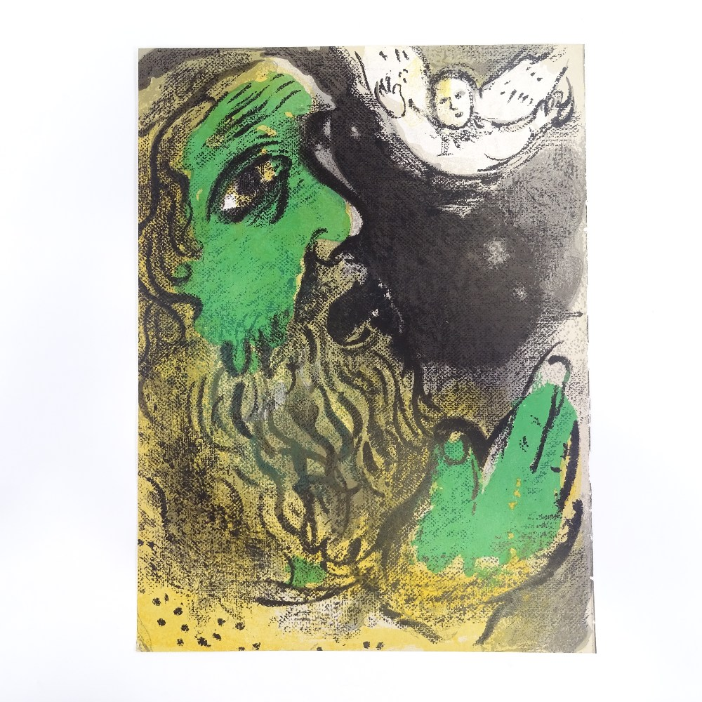 MARC CHAGALL - original colour lithograph, Job Praying, published by Verve 1960, 35cm x 26cm, - Image 2 of 5