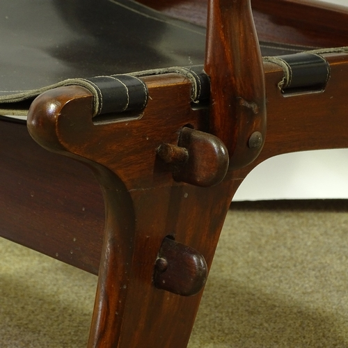 ANGEL PAZMINO - a Mid-Century Ecuadorian rosewood stained teak lounge chair, leather sling seat - Image 2 of 5