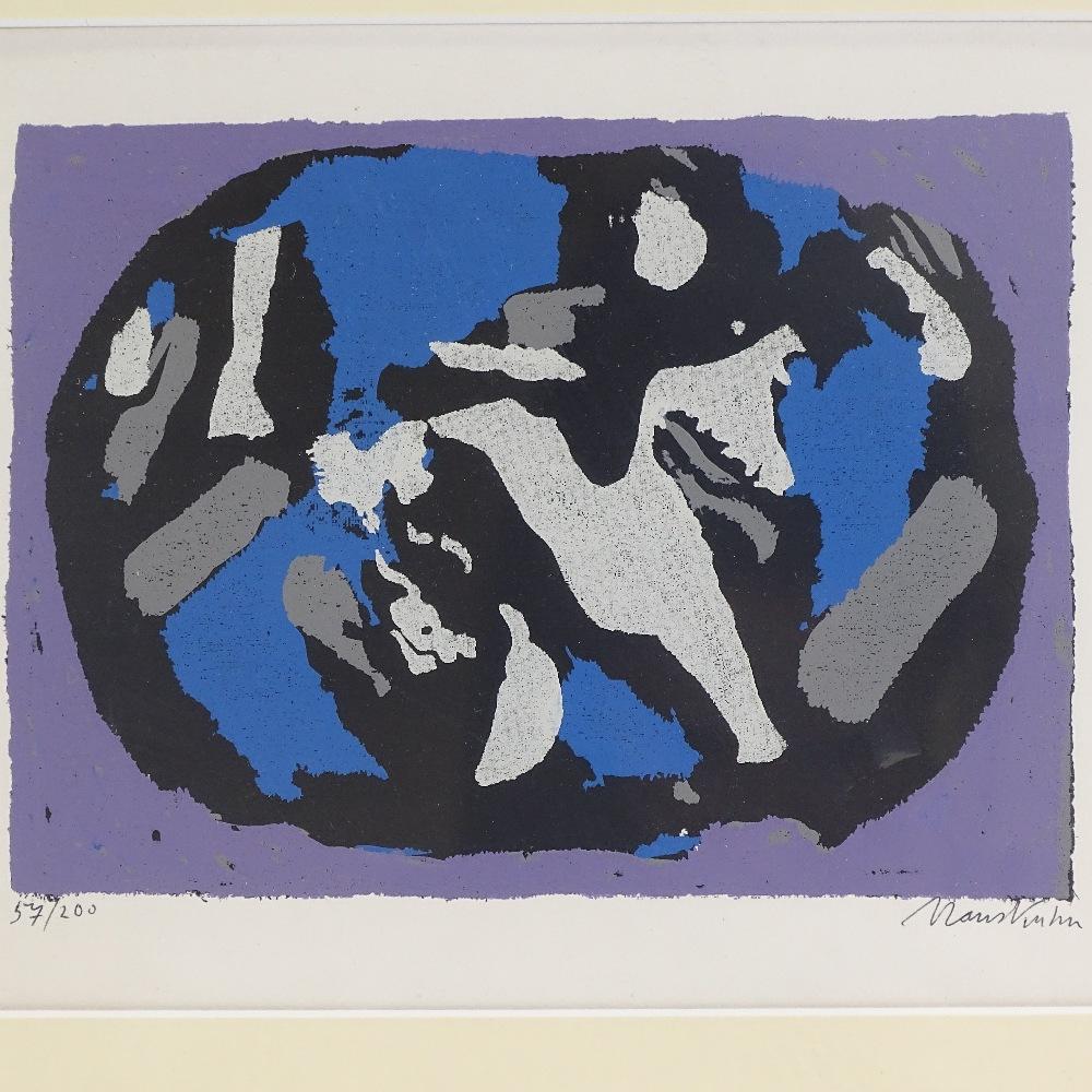 HANS KUHN - a limited edition original silkscreen print, abstract study, circa 1955, no. 57/200, - Image 4 of 5