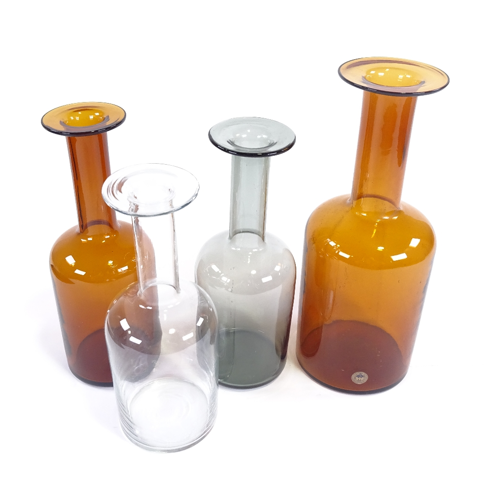 OTTO BRAUER FOR HOLMEGAARD - a set of 4 Vintage vari-colour glass Gulvvases (Gul Vase), in amber, - Image 2 of 5