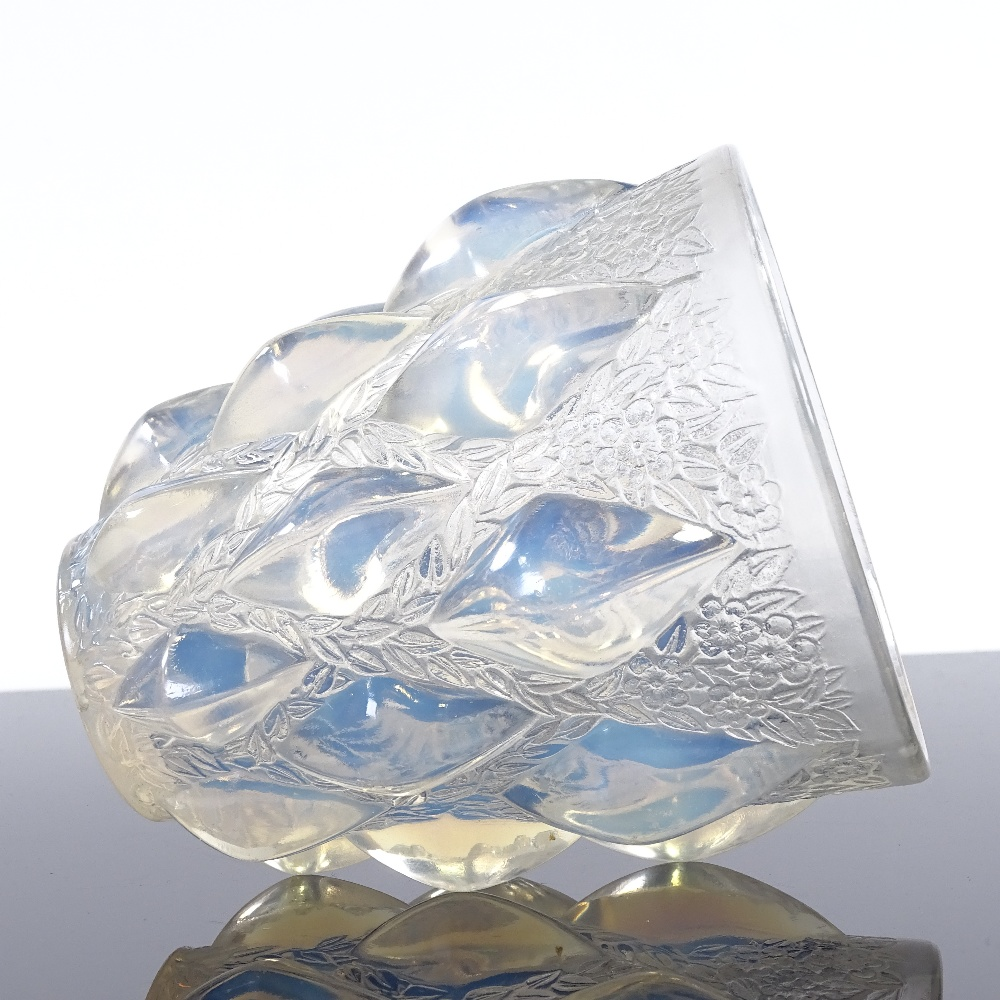 R LALIQUE - a Mid-Century French opalescent glass Rampillon vase, tapered cylindrical form... - Image 5 of 5