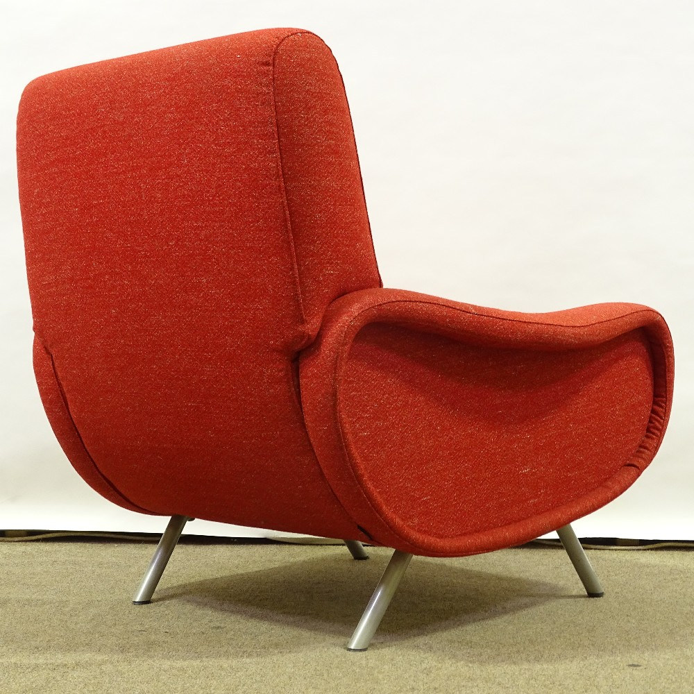 MARCO ZANUSO FOR ARFLEX - a late 20th Century Italian Lady lounge chair, red upholstery with steel - Image 3 of 5