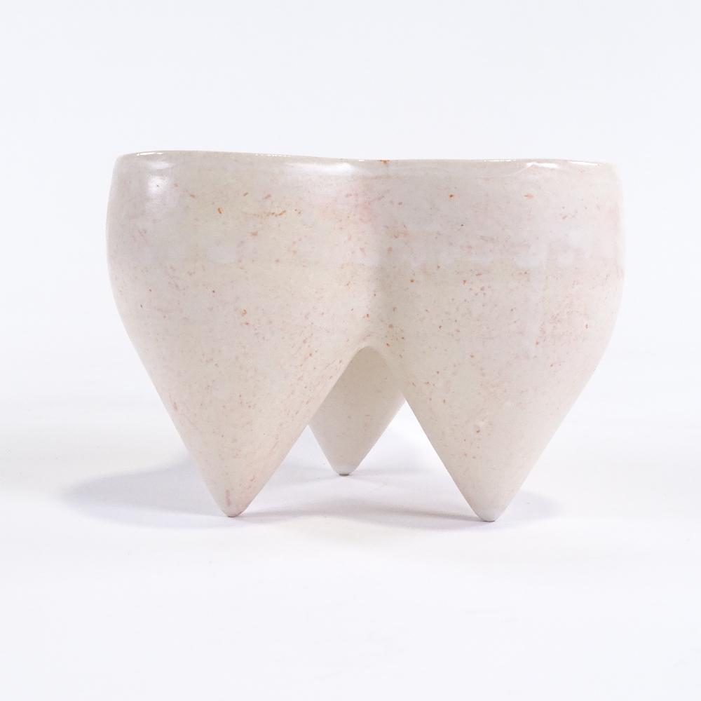 DEANA MOORE (British) - a Studio Pottery earthenware tripod pot, orange and white glaze, impressed - Image 3 of 5