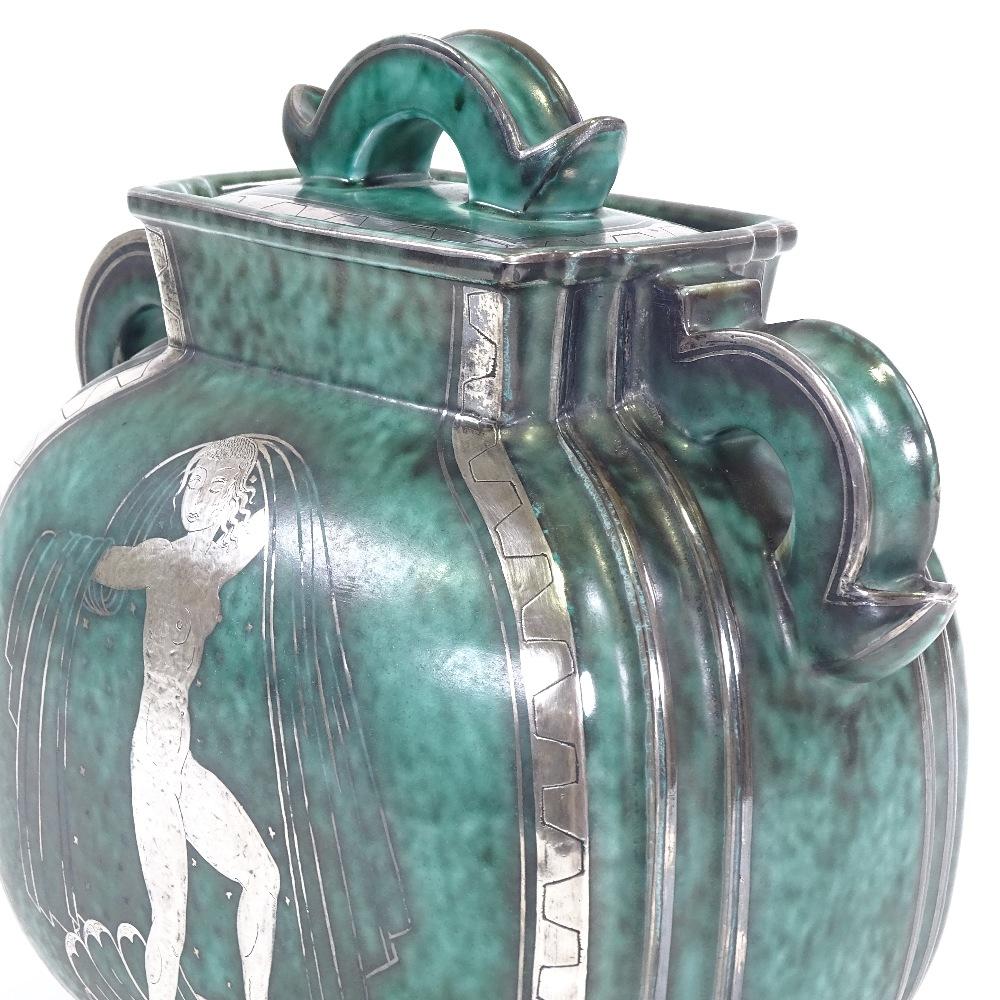WILHELM KAGE FOR GUSTAVSBERG - an Art Deco Swedish green glaze ceramic Argenta urn and cover, - Image 4 of 5