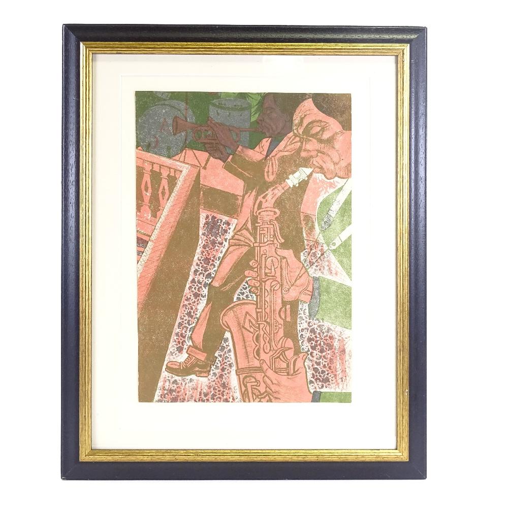 BRIAN HARLAND REES (Born 1930), Mid-Century original colour lithograph, Jazz Band, circa 1960s, - Image 2 of 5