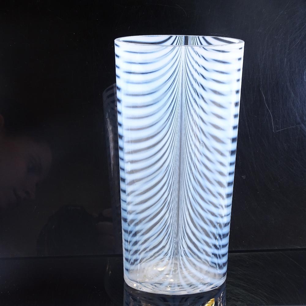 BERTIL VALLIEN FOR KOSTA BODA - a 1980s Swedish Zebra vase, tapered ovoid form with opaline stripes, - Image 2 of 5