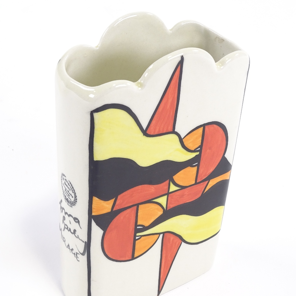 LORNA BAILEY - a late 20th Century Mirage ceramic vase, Deco style flag decoration with wave rim, - Image 5 of 5