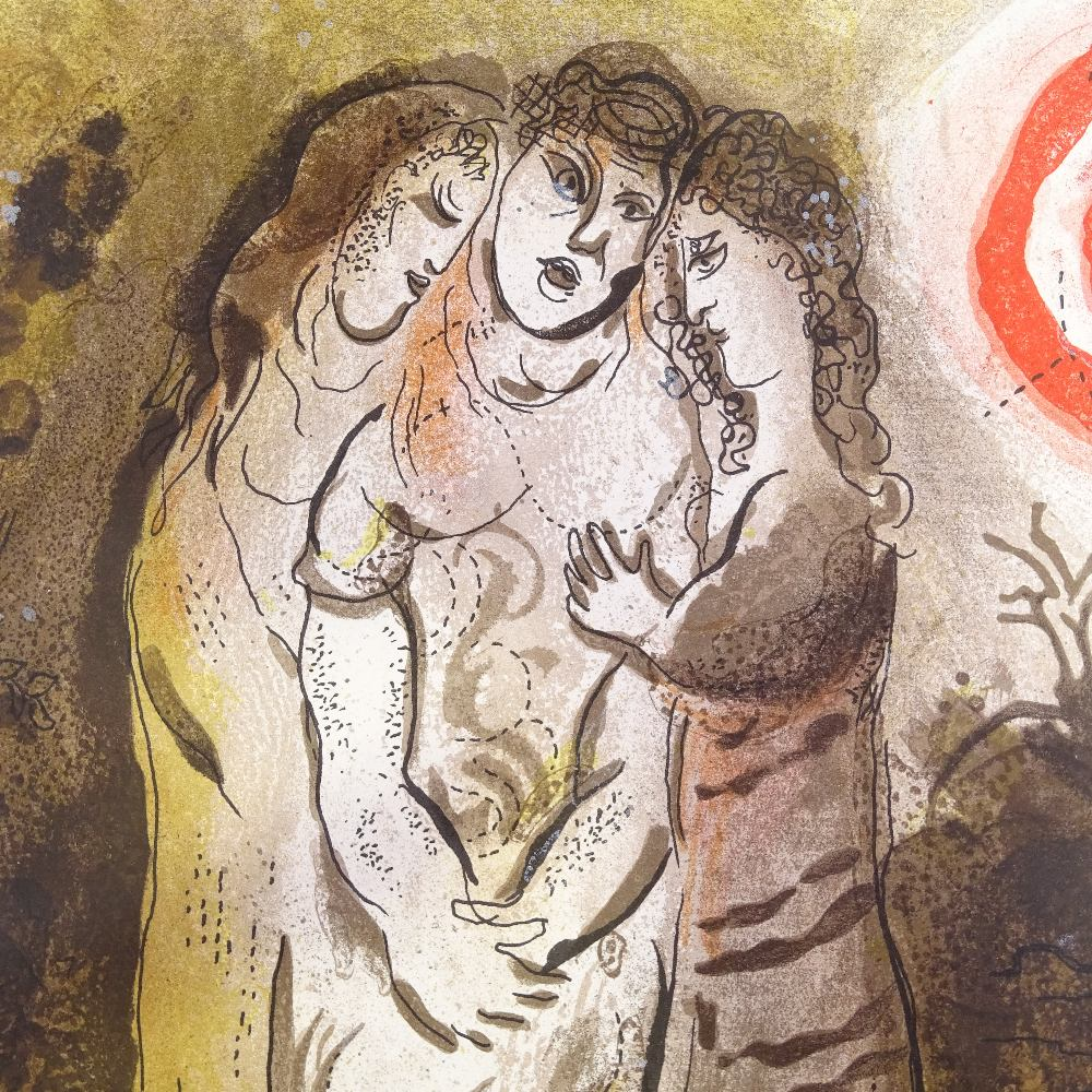 MARC CHAGALL - original colour lithograph, Naomi and her Daughters-in-Law, published by Verve - Image 3 of 5