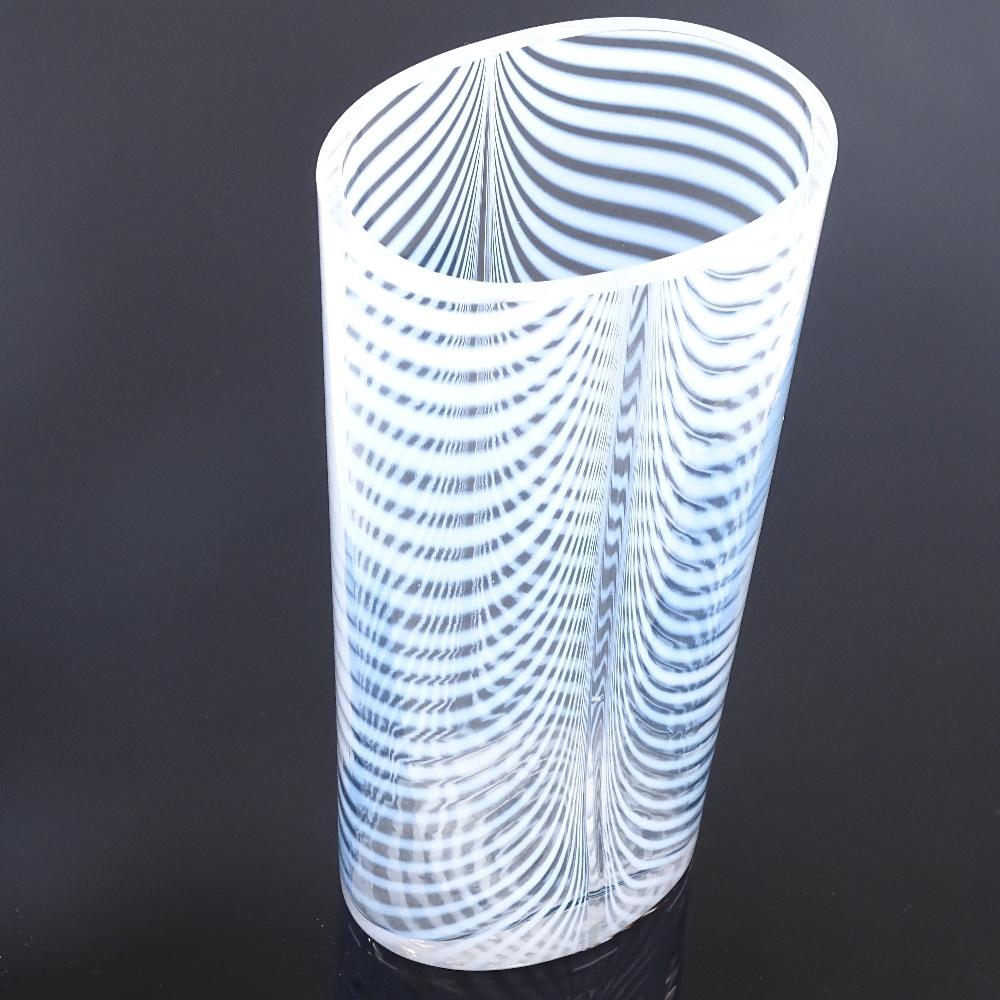 BERTIL VALLIEN FOR KOSTA BODA - a 1980s Swedish Zebra vase, tapered ovoid form with opaline stripes, - Image 3 of 5