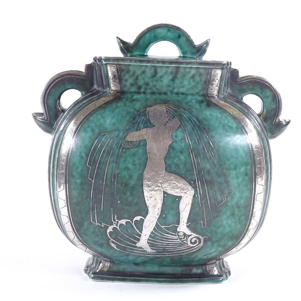 WILHELM KAGE FOR GUSTAVSBERG - an Art Deco Swedish green glaze ceramic Argenta urn and cover, - Image 3 of 5