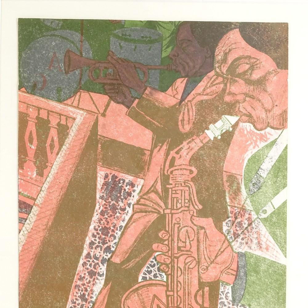 BRIAN HARLAND REES (Born 1930), Mid-Century original colour lithograph, Jazz Band, circa 1960s, - Image 3 of 5
