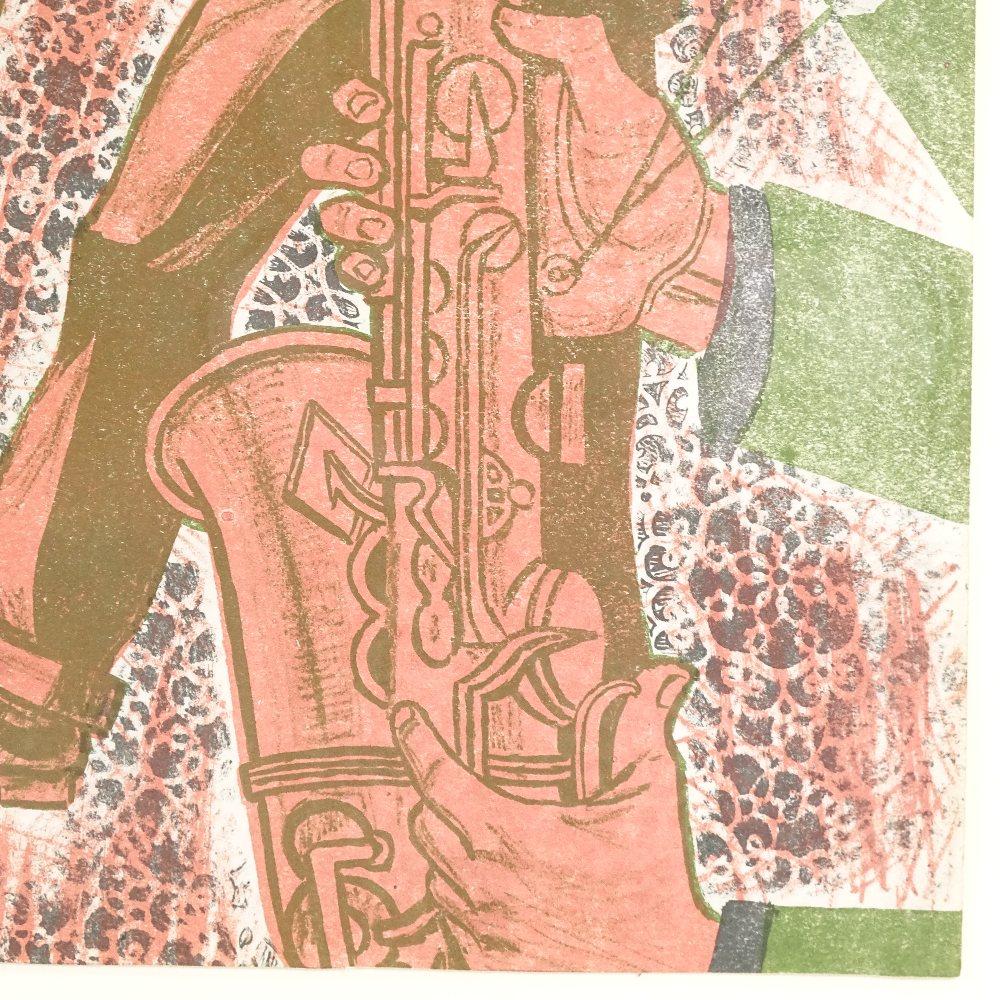 BRIAN HARLAND REES (Born 1930), Mid-Century original colour lithograph, Jazz Band, circa 1960s, - Image 4 of 5