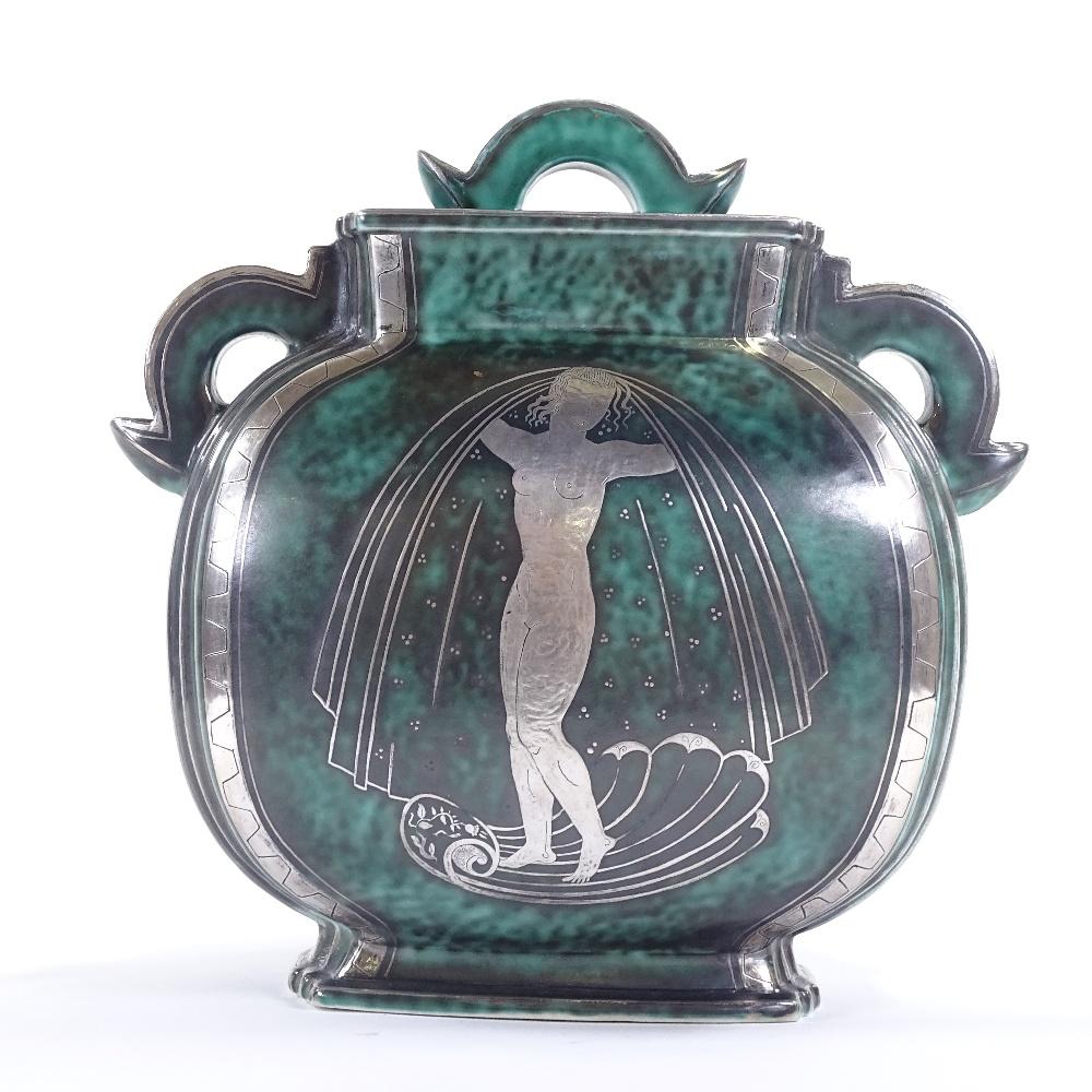 WILHELM KAGE FOR GUSTAVSBERG - an Art Deco Swedish green glaze ceramic Argenta urn and cover, - Image 2 of 5