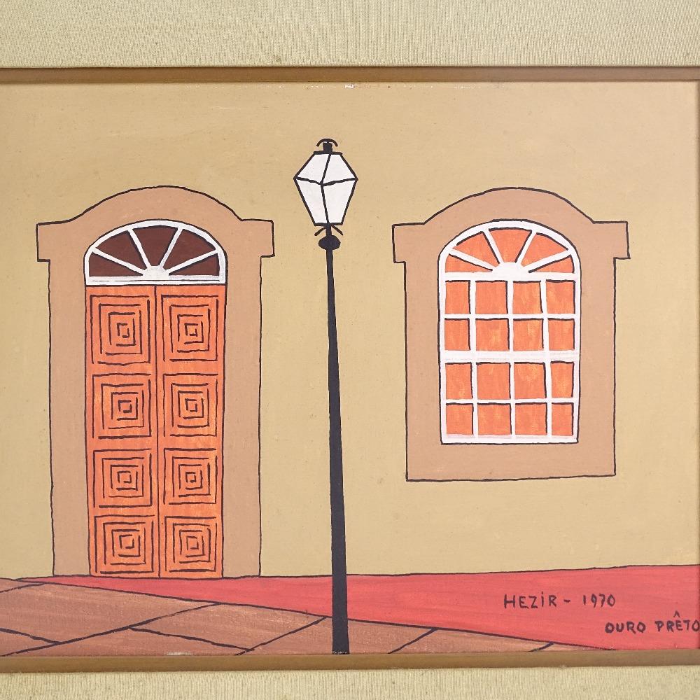 HEZIR GOMES (Brazilian, 1916-1993) - 2 oils on canvas, street facades in Brazil (Ouro Preto), signed